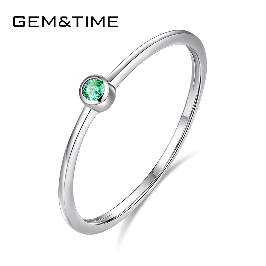 Real Sterling Silver 925 Ring Green Topaz For Women Thin Circle Gemstone Promis Rings Silver 925 Jewelry