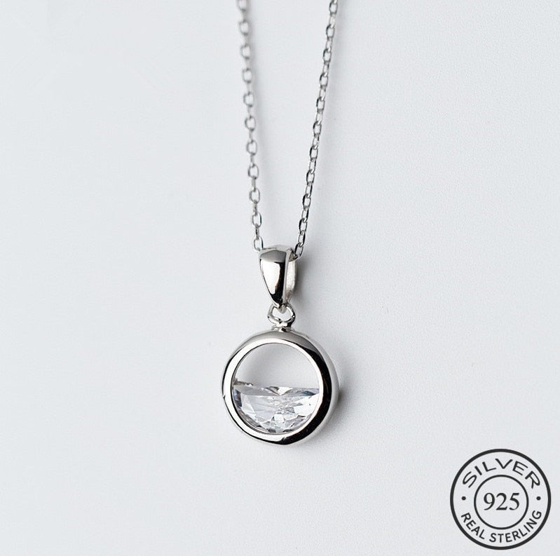 New Real 925 Sterling Silver Crystal Round Minimalist Pendant Necklaces Minimalist Fine Jewelry For Women Party Accessories