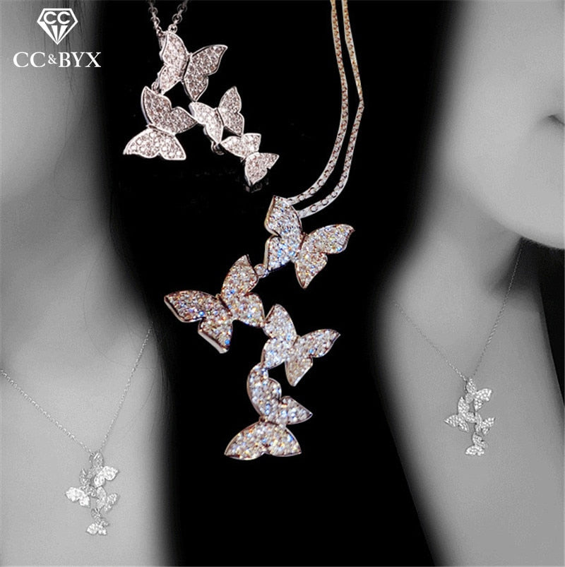 Necklaces Pendants For Women S925 Sterling Silver Butterfly Cubic Zirconia Clavicle Chain Fine Jewelry