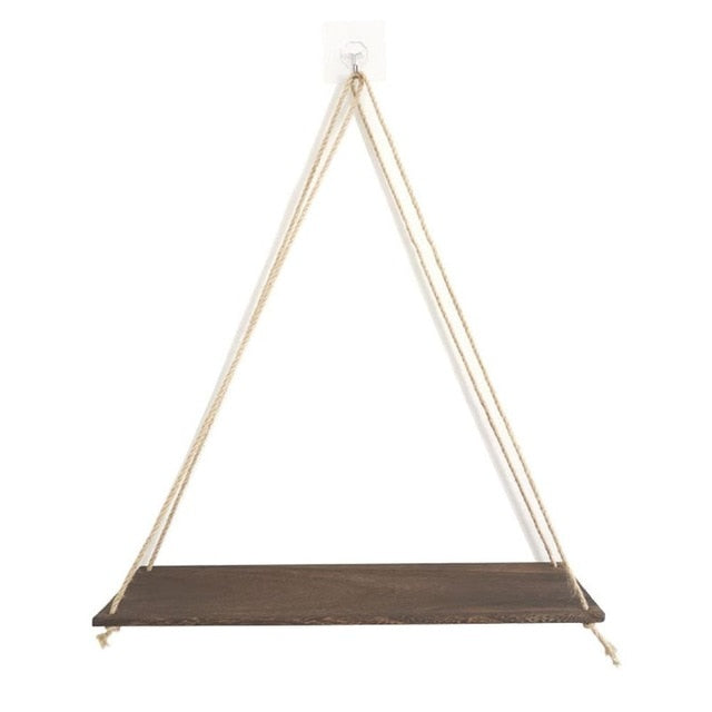 Premium Wood Swing Hanging Rope Wall Mounted Floating Shelves Plant Flower Pot indoor outdoor decoration simple design