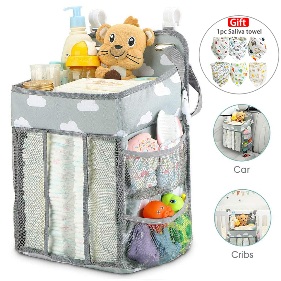 Baby Newborn Bed Storage Organizer Crib Hanging Storage Bag Caddy Organizer For Baby Essentials Bedding Set Diaper Storage Bag