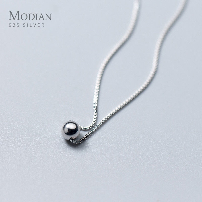Trendy Tiny Simple Bead Necklace Pendant New Sale 100% 925 Sterling Silver Round Jewelry For Women & Girls Party Gift