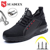 Work Shoes Breathable Steel Toe Boots Lightweight Air-cushion Safety Work Shoes Anti-slippery For Men Women Work Sneaker