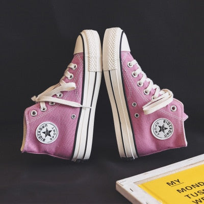 Canvas Shoes Women Teenagers Skateboard Shoes Spring Summer Candy Color Street Sneaker All Match Outdoor Footware