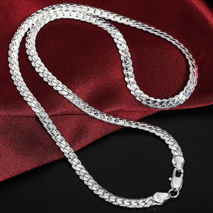 925 Sterling Silver 6mm Full Sideways Necklace 18/20/24 Inch Chain For Woman Men Fashion Wedding Engagement Jewelry