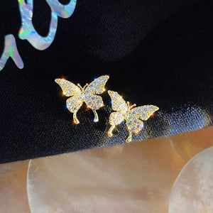 Fashion Elegant Crystal Butterfly Clip Earrings For Women No Piercing Fake Cartilage Cute Statement Korean Earring Gifts