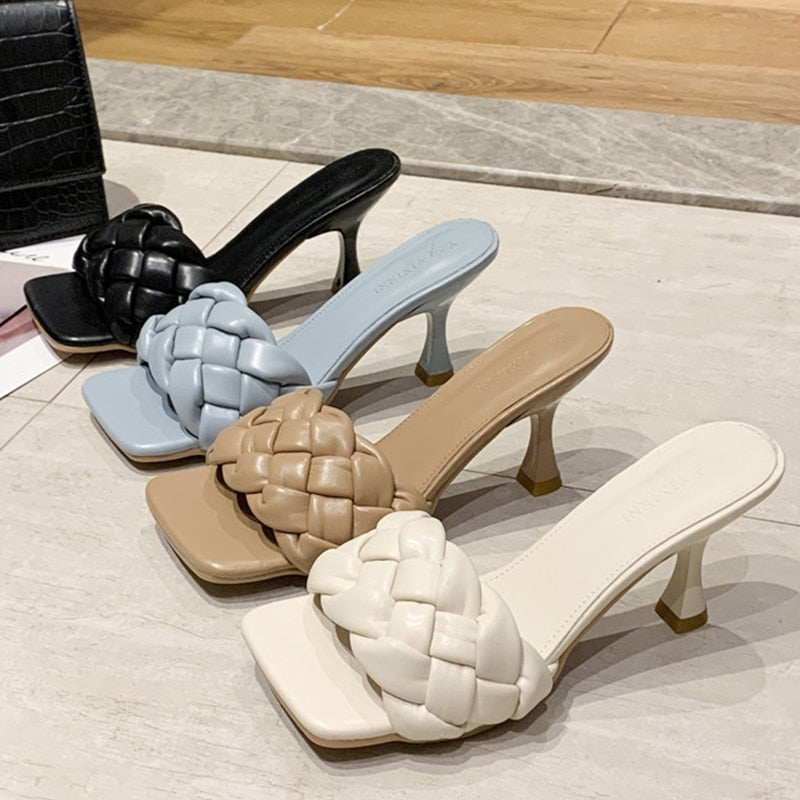 Luxury Slides Women 7cm High Heels Mules Fetish Pumps Individual Weave Leisure Blue Office Ladies Prom Slippers Women's Shoes