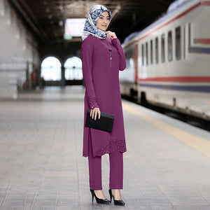 Two Piece Sets Tops and Pants Women Turkey Muslim Abaya Split Abaya Dresses Ramadan Moroccan Kaftan Islamic Clothing Dress Sets