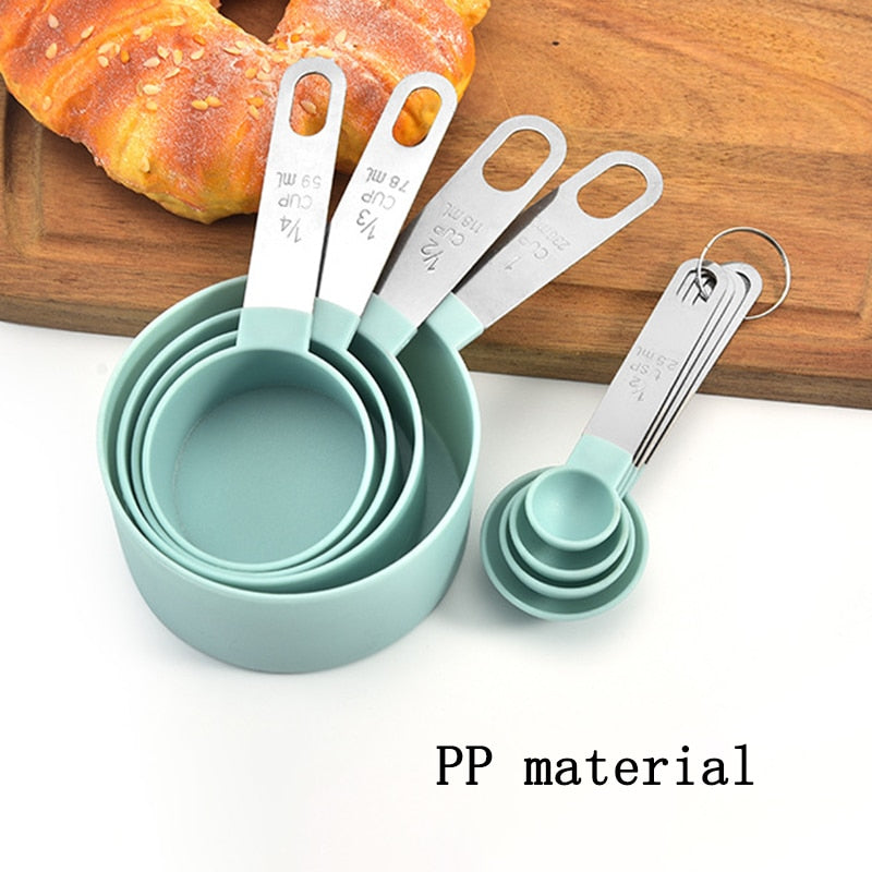 4Pcs/5pcs/10pcs Multi Purpose Spoons/Cup Measuring Tools PP Baking Accessories Stainless Steel/Plastic Handle Kitchen Gadgets