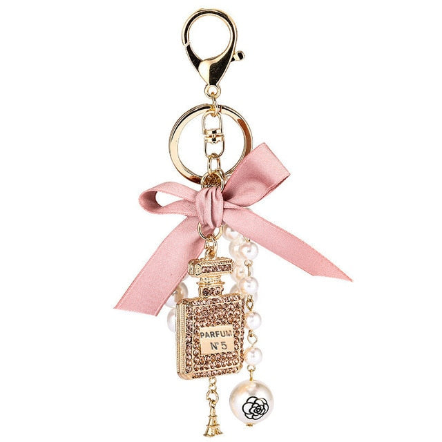 Imitation Pearl Perfume Bottle Keychain Car Key Ring Holder Bag Charm Pendant Accessories Bow Key Chain Fashion Keyring