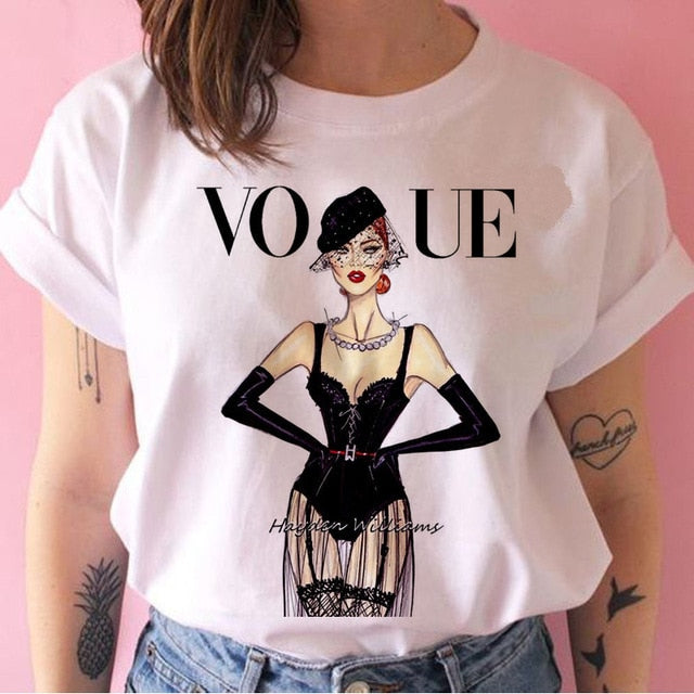 vogue princess t shirt print female grunge ulzzang tshirt cartoon funny tops shirts 90s t-shirt Graphic clothes fashion girl