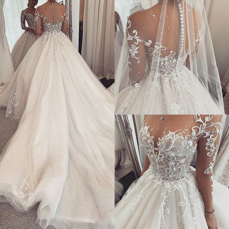 Charming Lace Wedding Dress robe de mariee Sheer Long Sleeves Wedding Dresses Custom Made Illusion A-Line Bride Gowns