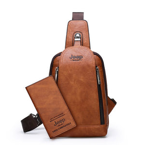 Brand Travel Hiking Messenger Shoulder Bags Men's Large Capacity Sling Crossbody Bag Solid Men Leather Bag