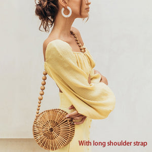 Casual Bamboo Beach Bag Women Summer New Hand Woven Hollow Out Round Straw Handbag Ladies Retro Wooden Basket Bags Holiday