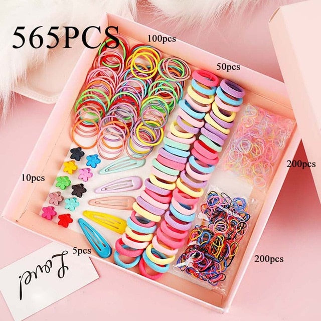 Girls Cute Elastic Hair Bands Hairpins Flower Hair Claws Hair Clip Rubber Band Ponytail Holder Kids Fashion Hair Accessories