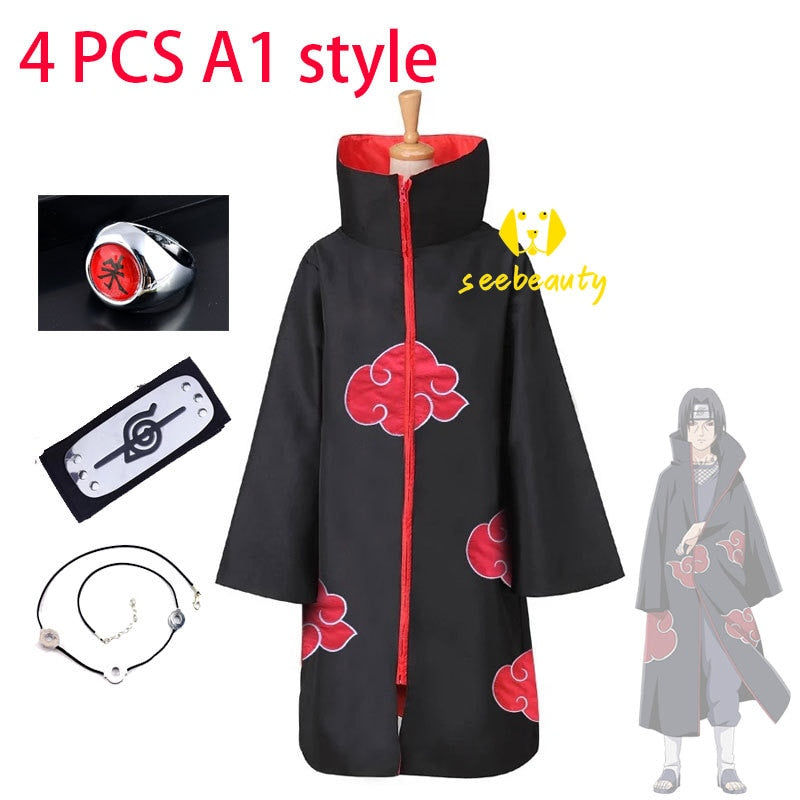 4 PCS Sets Anime Naruto Akatsuki Cloak Uchiha Itachi Cosplay Costume Ring Headband Necklace Sets Halloween Costume Women Men