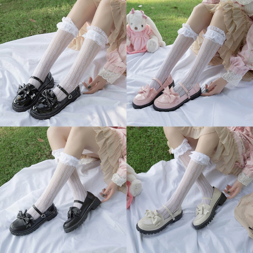 Japanese College Students Girls Round Toe Buckle Straps Bow Shoes Lolita JK Commuter Uniform Love live PU Leather Shoes 3 Colors