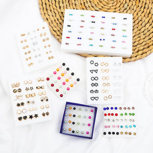 Multi-style Fashion Simple Colorful Crystal Stud Earrings Set For Women Girls Flower Small Plastic Earring Birthday Jewelry