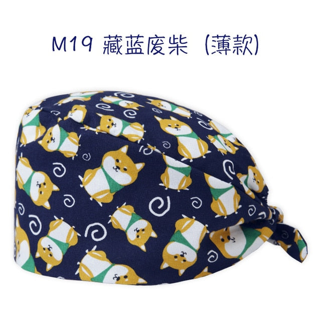Clearance Scrub Caps Pattern Dentist Print Scrubs Hat 100% Cotton Women Men Dust Proof  Veterinarian Chef Working Cap