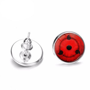 Hot Blood Anime Naruto Shippuden Stud Earrings Sharingan Eye Glass Time Gem Earrings for Boys Girls Cassic Movie Jewelry