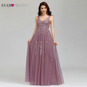 Prom Dresses Long Ever Pretty Elegant Long V-neck Tulle Lace Applique Sleeveless A-line Hot Selling