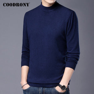 Turtleneck Sweater Men Clothing Autumn Winter Thick Warm Knitted Cotton Wool Pullover Men Pure Color Pull Homme