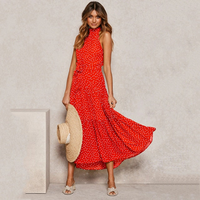 Summer Long Dress Polka Dot Casual Dresses Black Sexy Halter Strapless New Yellow Sundress Vacation Clothes For Women