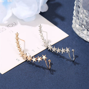 1 PC Minimalist Star Shape Long Ear Cuffs Stud Earrings Simple Ear Cuff Pins Climbers Earrings Jewelry For Women Crawlers Pin