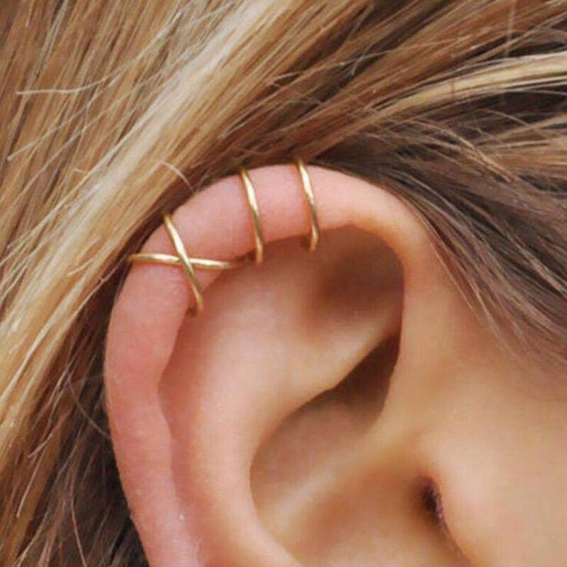 5pcs/set Fashion Leaf Clip On Earrings For Women Ear Cuff Gold Color No Piercing Fake Cartilage Earring Punk Jewelry