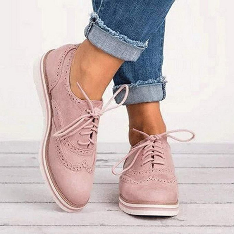 Women Flats Shoes Oxfords Cut-Outs Lace Up Platform Shoes Pu Leather Ladies Non-slip Shoes Breathable Female Footwear