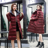 Women Double Sided Down Long Jacket Winter Turtleneck White Duck Down Coat Double Breasted Warm Parkas Snow Outwear
