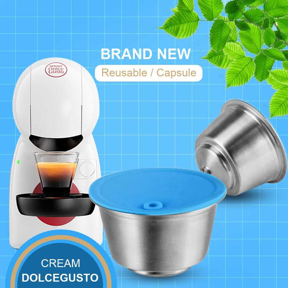 STAINLESS STEEL Metal Reusable Dolce Gusto Coffee Capsule Compatible with Nescafe Machine Refillable  Filter Dripper