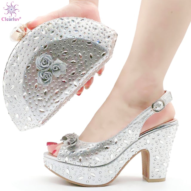 Arrival Italian Women Shoes and Bag Set Decorated with Rhinestone In Party African Italian Shoes and Bag Set Party Shoes Bag