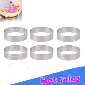 Circular Stainless Steel Porous Tart Ring Bottom Tower Pie Cake mold Baking Tools Heat-Resistant Perforated Cake Mousse Ring