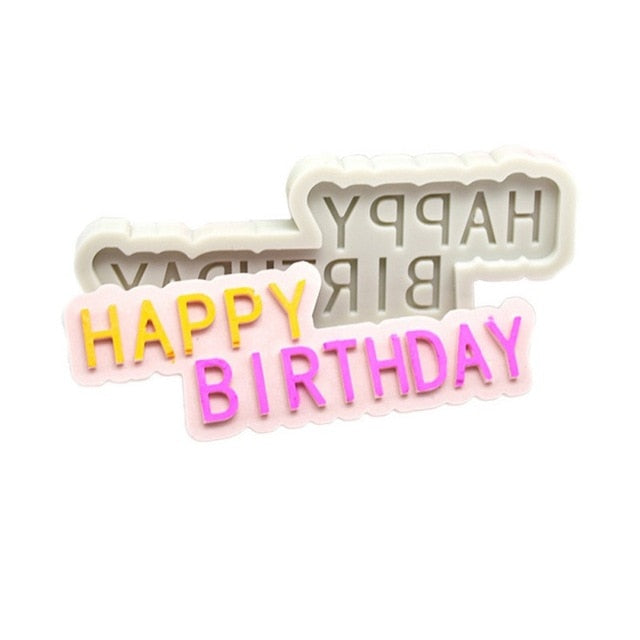 6pcs/set Handwriting Fondant Cake Embosser Plastic Letters Mold Happy Birthday Best Wishes Baking Molds Decoration Tool