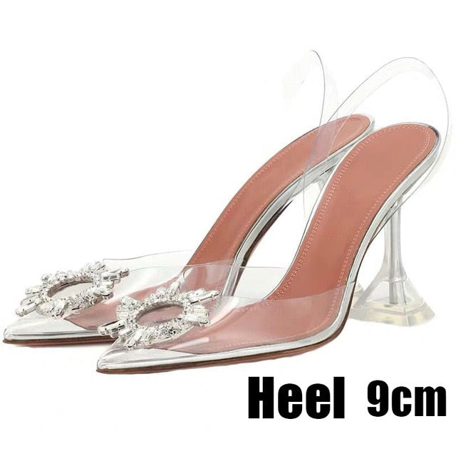 Luxury Women Pumps Transparent High Heels Sexy Pointed Toe Slip-on Wedding Party Brand Fashion Shoes For Lady Size 34-41