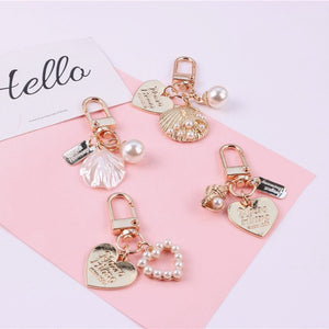Cute Heart Keychain Women Girl Korean Fashion Shell Pearl Key Chain Bag Charms Gold Key Ring Trinket Airpods Key Accessories