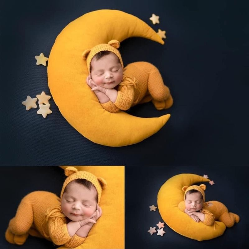 Baby Hat Posing Beans Moon Pillow Stars Set Newborn Photography Props Infants Photo Shooting Accessories