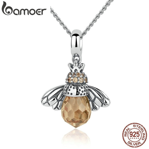 925 Sterling Silver Lovely Orange Bee Animal Pendants Necklace for Women Fine Jewelry