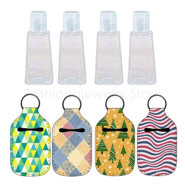 4Pc Small Empty Travel Bottle Refillable Containers 30ML Flip Cap Reusable Bottle Hand Sanitizer Keychain Carrier Holder