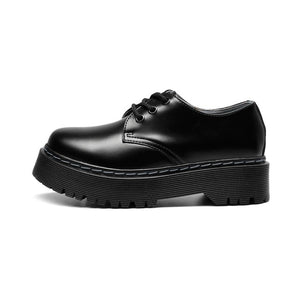 Oxford Shoes for Women Bright Genuine Leather Platform Martens Women Punk Shoes Thick Bottom Motorcycle Shoes Mujer 41