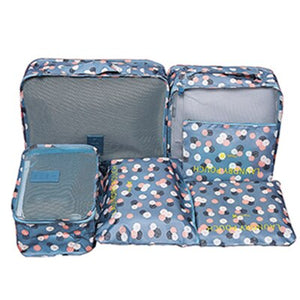 6Pcs/set Packing Cube Travel Bags Portable Large Capacity Clothing Sorting Organizer Luggage Accessories Supplies Product Items