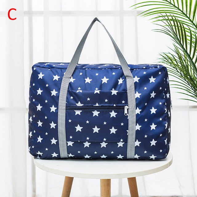 Waterproof Nylon Cartoon Girl Travel Bags Women Large Capacity Folding Duffle Bag Organizer Packing Cubes Luggage Weekend Bag