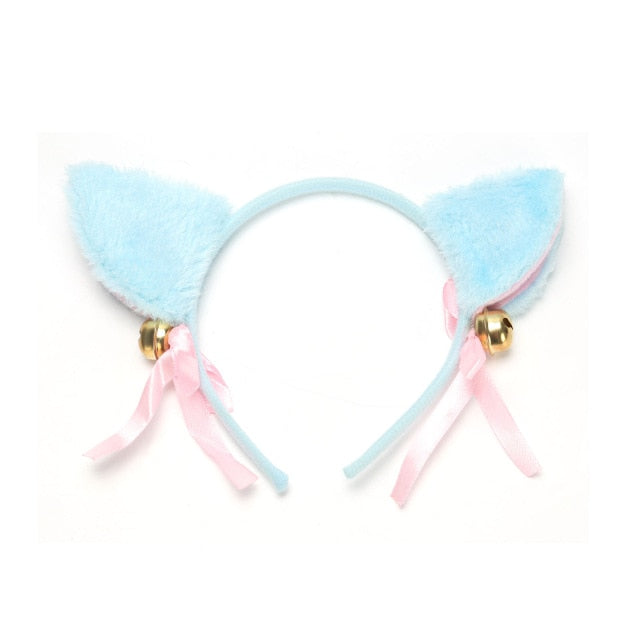 6 Colors Beautiful Masquerade Halloween Cat Ears Cosplay Cat Ear Anime Party Costume Bow Tie Bell Headwear Headband Anime