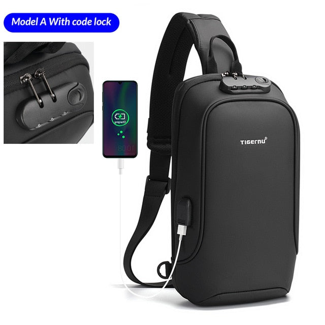 Men Bag Casual Splash proof Chest Bag Anti-theft  USB Charging Chest Bags Men  High Quality Zippers