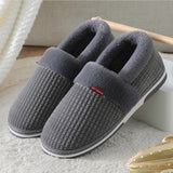 Home Slippers for Men Winter Furry Short Plush Man Slippers Non Slip Bedroom Slippers Couple Soft Indoor Shoes Male
