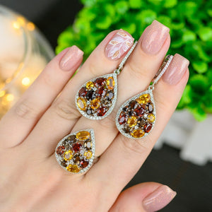 Natural Smoky Quartz Citrine Gemstone Drop Earrings Ring Sets Pure 925 Sterling Silver Jewelry Set For Women Fine