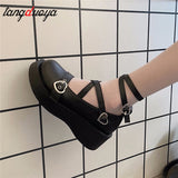 shoes platform round head thick heel cross bandage women shoes kawaii shoes cosplay Mary Jane shoes