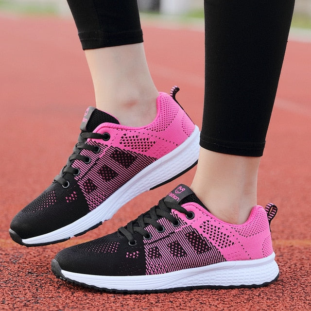 Women Shoes Flats Fashion Casual Ladies Shoes Woman Lace-Up Mesh Breathable Female Sneakers