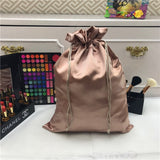 Custom Logo Silk Satin Drawstring Gift Bags Virgin Hair Jewelry Makeup Packaging Bag Black White Silver Pink Silk Pouch